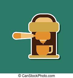 paper sticker on stylish background coffee electronic machine