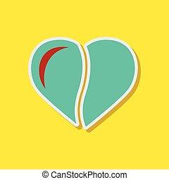 paper sticker on stylish background coffee bean heart