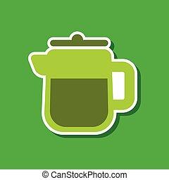 paper sticker on stylish background coffee maker