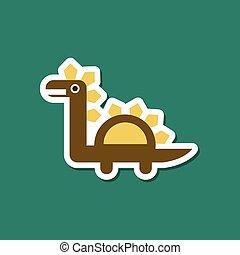 paper sticker on stylish background dinosaur