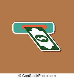 paper sticker on stylish background dollar money