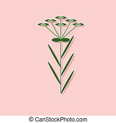 paper sticker on stylish background plant Euphorbia