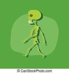 paper sticker on stylish background skeleton Halloween...