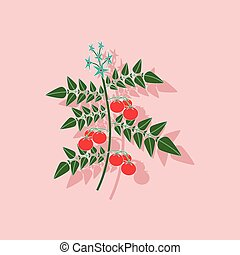 paper sticker on stylish background tomato plant