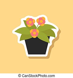 paper sticker on stylish background geranium
