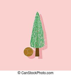 paper sticker on stylish background plant Cupressus