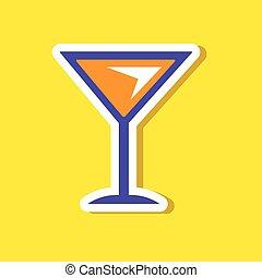 paper sticker on stylish background martini glass