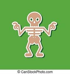 paper sticker on stylish background halloween skeleton -...