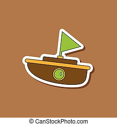 paper sticker on stylish background Kids toy boat
