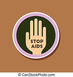 paper sticker on stylish background of gays Stop AIDS symbol