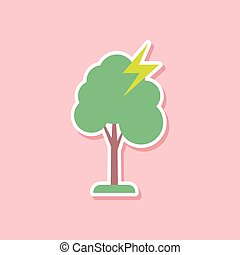 paper sticker on stylish background of lightning tree