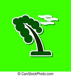 paper sticker on stylish background of strong wind tree