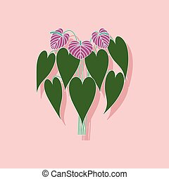 paper sticker on stylish background of plant Anthurium