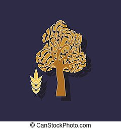 paper sticker on stylish background plant Fraxinus - paper...