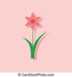 paper sticker on stylish background plant Narcissus - paper ...