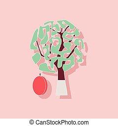 paper sticker on stylish background plant Prunus - paper...