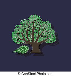 paper sticker on stylish background plant Quercus - paper...