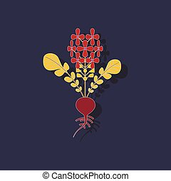 paper sticker on stylish background plant raphanus - paper...