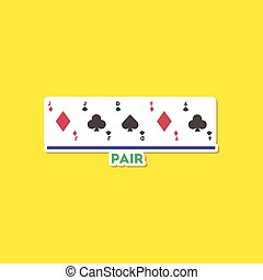 paper sticker on stylish background poker pair cards