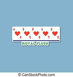 paper sticker on stylish background poker royal flush
