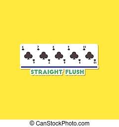paper sticker on stylish background poker straight flush