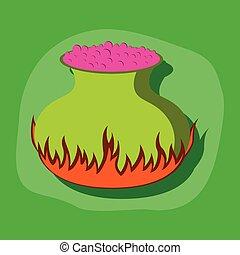 paper sticker on stylish background potion cauldron