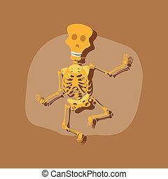 paper sticker on stylish background skeleton Halloween...