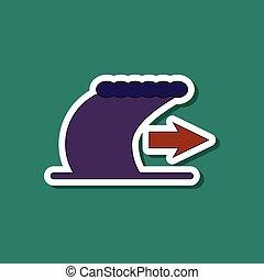 paper sticker on stylish background tsunami movement - paper...