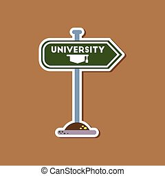 paper sticker on stylish background University sign