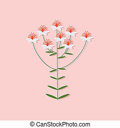 paper sticker on stylish background plant Hypericum