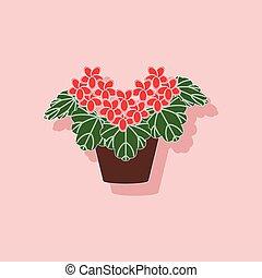 paper sticker on stylish background plant Pelargonium