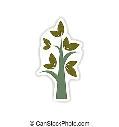 paper sticker on the white background tree