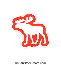 paper sticker on white background Arctic moose
