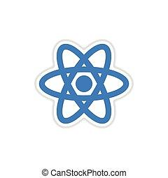 paper sticker on white background atom