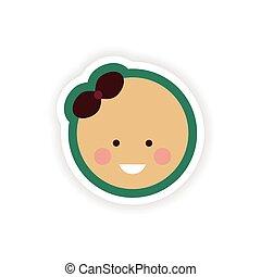 paper sticker on white background baby girl