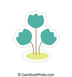 paper sticker on white background bouquet of flowers