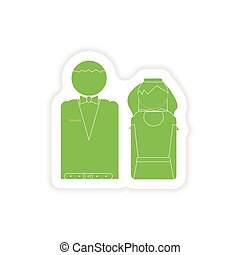 paper sticker on white background bride and groom