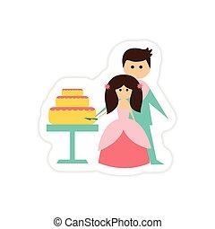 paper sticker on white background Bride Groom Cake
