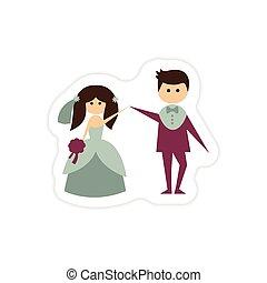 paper sticker on white background bride groom dancing