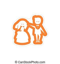 paper sticker on white background bride groom dancing