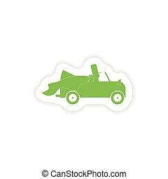 paper sticker on white background bridegroom car