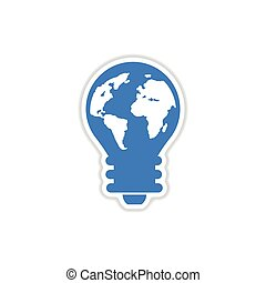paper sticker on white background bulb  Earth