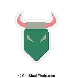 paper sticker on white background bull head
