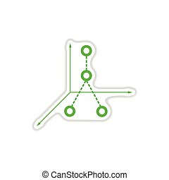 paper sticker on white background business graph
