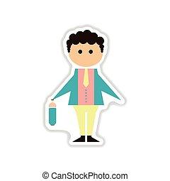 paper sticker on white background businessman