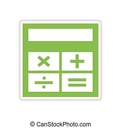 paper sticker on white background calculator