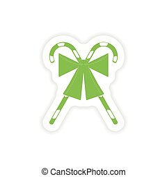paper sticker on white background candy bow