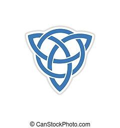 paper sticker on white background celtic symbol