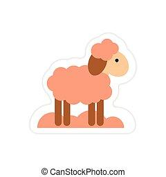 paper sticker on white background Christmas lamb