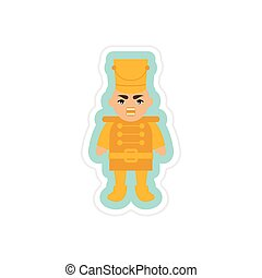 paper sticker on white background Christmas Nutcracker